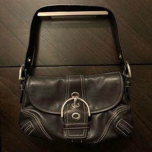 Coach (Outlet) Black Leather Buckle Shoulder Bag
